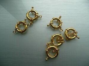 large 20mm gold plated on Brass SPRING ring BOLT Clasp hook fob bracelet