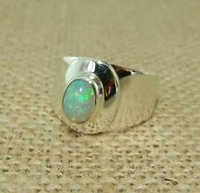 Ethiopian Welo Opal 925 Sterling Silver Wide Band Ring UK Size P 1/2-US 8