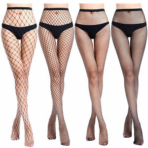 1 Pair Solid  Hollow Out Plain Pantyhose Mesh Fishnet High Stockings Tights