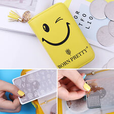 24Slots Nail Stamp Plate Holder Case Smiling Face Storage Organizer BORN PRETTY