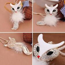 Women's Lovely Crystal White Fox Pendant Fur Ball Necklace Long Sweater Chain Wo