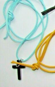 Aqua Blue faux suade necklace hematite/gunmetal pendant cross