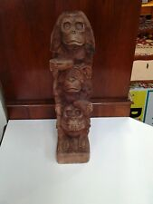 Hand Carved Monkey Totem Pole Hear No Evil, See No Evil, Speak No Evil