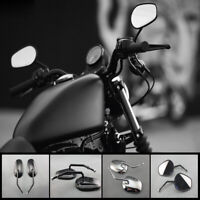 Pair Teardrop Rear View Mirrors For Harley Dyna Softail Sportster