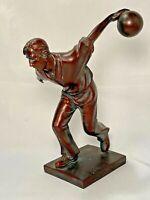 "Napco Imports Resin Sports Figurine Bowling Man Bronze Color 7 7/8""H x 6""W Decor"