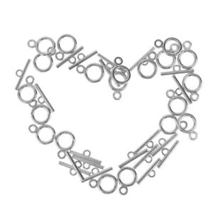 20x Silver Round Toggle Clasps DIY Necklace Bracelet Anklet Jewelry Findings