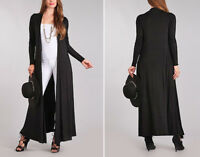 Women's Full Length Cardigan Sweater Duster Long Sleeves Open Front Solid Black