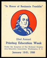 USA Poster Stamp - 22nd Annual Printing Education Week - 1950 - Ben Franklin