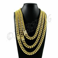 Miami Cuban Link Chain 1ct Diamond Clasp HEAVY 18K Gold Plated Stainless Steel