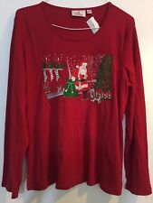 QUACKER FACTORY Holiday Embroidered Long Sleeve T-Shirt Sz L  290222RM