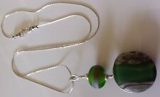 Handmade Green Lampwork Pendant with Sterling Silver Chain 45 cm length