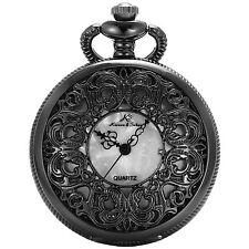 KS Vintage Antique Pocket Watch Mother of Pearl Dial Quartz Pendant Gift Chain