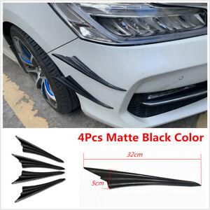 4x Universal Black Car Front Bumper Side Canards Fins Spoiler Wing Lip Splitter