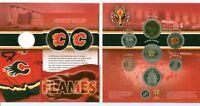 2007 CALGARY FLAMES Coin Set Canada Mint Colourized Flames Quarter SCARCE!
