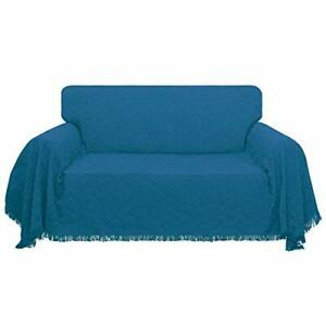 Geometrical Jacquard Sofa Cover Couch Covers for 3 Cushion Couch (Peacock Blue)