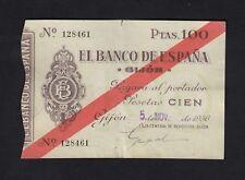 F.C. 100 PESETAS BANCO DE GIJÓN 1936 , MBC+ , ROTURA MARGEN SUPERIOR , MANCHITAS