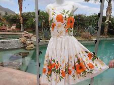 Vintage 50s dress pinup VLV bombshell 35 bust 26 w full skirt poppies cotton