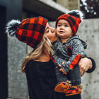 2PC Kids and Mom Winter Warm Baby Beanie Hat Knitted Fur Pom Pom Bobble Cap