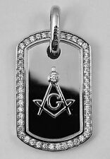 CZ Masonic Solid Pendant. Rhodium plated over Sterling Silver Freemasons 2 Inch