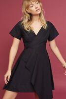 $138 Anthropologie Seamed Poplin Draped Dress By Maeve Black Size Sz 6