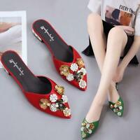Chic Womens Flower Pointed Toe Slip On Sequins Shoes Slippers Casual Mules Pumps