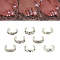 8pcs Women Lady Adjustable Opening Finger Ring Retro Toe Ring Beach Foot Jewelry