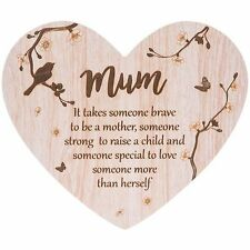 Mum Woodland Message Heart Plaque - Brave Strong and Someone Special …