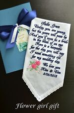 Flower girl gift Wedding Handkerchief Something old blue hankerchief embroidered