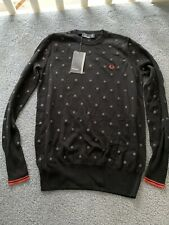 BNWT Fred Perry Round Neck Black Polkadot Cotton Womens Jumper Size 8