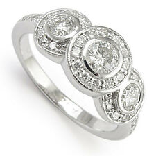1.19 cwt  Natural Diamond Anniversary Ring 14k White Gold size 4 to 9.5 #R516