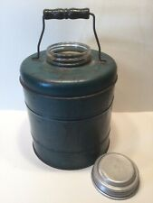 Lrg Vintage Green Glass Lined Picnic Cooler Thermos w/Wooden Handle Mid Century