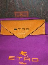 New in box, $295  Etro Credit card case holder with flap, Leather w/ ETRO stamp