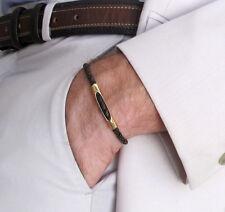 Leather Braided Bracelet. Brown Adjustable Bracelet. Mens / Unisex Gold Bracelet