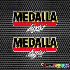 2x PUERTO RICO MEDALLA LIGHT BEER NEW LOGO DESIGN VINYL CAR STICKERS DECALS