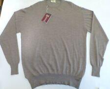 "William Lockie Crew neck 2 ply cashmere sweater jumper pullover top 48"" brown"