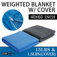 "Weighted Blanket With Duvet Cover 40x60"" 15lb Reduce Stress Promote Deep Sleep"