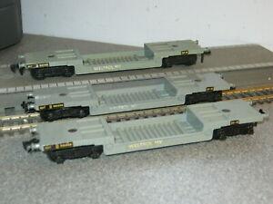3 Hornby Dublo OO Gauge 2 Rail BR 40 Ton Weltrol Bogie Well Wagons