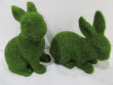 2 GREEN FAUX MOSS EASTER SPRING BUNNY RABBITS FIGURE STATUE  DECOR NEW