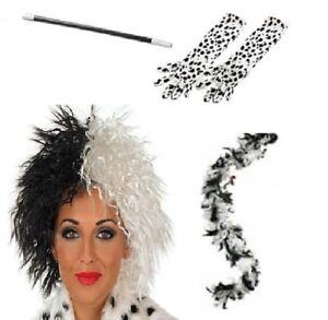 Cruella De Ville Dalmatian Ladies Wig, Dalmation Gloves, 2 Tone Boa & Cig Holder