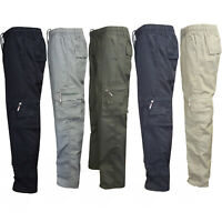 Men Camo Military Elastic Waist Army Cargo Combat Pocket Trousers Bottoms Pants