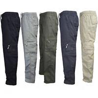 Men Camo Military Elastic Waist Army Cargo Combat Pocket Trousers Bottoms Pants