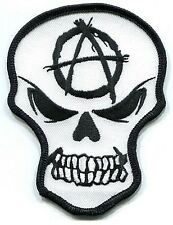 ANGRY SKULL w/ anarchy symbol EMBROIDERED IRON-ON PATCH  **FREE SHIP** -y ph388