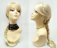 Blonde Inverted French Braid Wig Long Bangs Reverse Inside Out Synthetic 17""