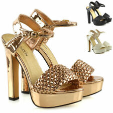 Synthetic Leather Strappy, Ankle Straps Standard Width (D) Heels for Women