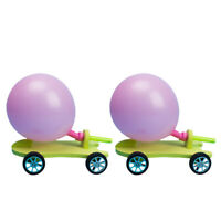 2 Set of Recoil Skateboard Car Kids Scientific Experiment Toys DIY Balloon Racer