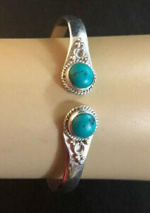 "Turquoise Cuff Bracelet 925 Sterling Silver Pltd Brass Bali Indo Design 7"" 1319"
