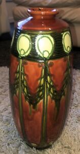 Antique Large Minton Secessionist Tube lined Vase No1 33 CM Tall 1910