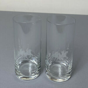 Ralph Lauren Set of 2 Fine Crystal Highball Drinking Glasses Polo Etch