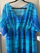 New Women's Tie Dye Blue Green Elastic Waist Dress Layered 1X 20W Plus $70