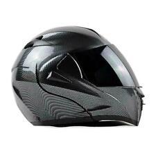 Motorcycle Bluetooth Helmet Modular Flip Up Full Face Dual Visor Carbon Fiber ta